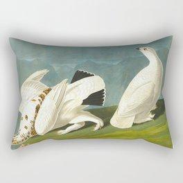 American Ptarmigan and White Vintage Scientific Bird Illustration Rectangular Pillow