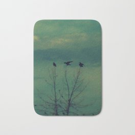 Ravens Come Gathering in a Soft Turquoise Sky Bath Mat