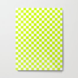Small Checkered - White and Fluorescent Yellow Metal Print