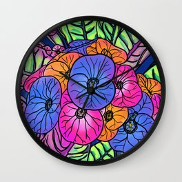 Colourful Flowers and Leaves Wall Clock