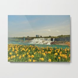 Tulips By The Falls Metal Print