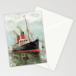 Vintage -  Ship -  Steam -  Sea -  Clouds -  Boat -  Nautical - Vintage illustration. Retro décor. Stationery Cards