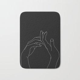 Hands line drawing illustration - Abi black Bath Mat