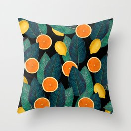 Lemons And Oranges On Black Throw Pillow