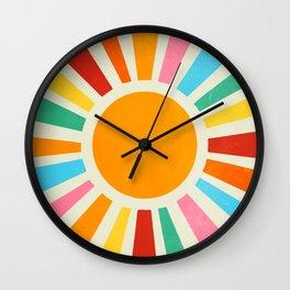 Retro Sunrise: Rainbow Edition Wall Clock