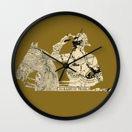 Vintage Made Modern: Canadian Mountie and Radium Trail Map Wall Clock