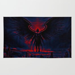 Angelic Guardian Red Blue Rug