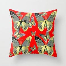 2 charcoal grey western butterflies on red throw pillow
