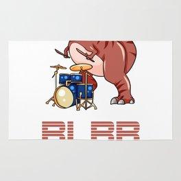 Dino Drummer Drumming Paradiddle dinosaur present Rug