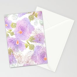 Romantic summer hollyhock flowers Stationery Cards
