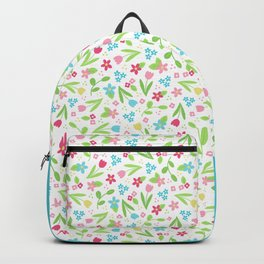 Spring Flowers Pattern on white background Backpack