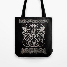 Old norse design - Two Jellinge-style entwined beasts originally carved on a rune stone in Gotland. Tote Bag