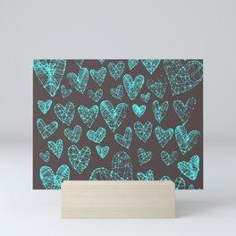 Wire Hearts in Teal-Bronze Mini Art Print