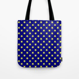 Electric Yellow on Navy Blue Stars Tote Bag