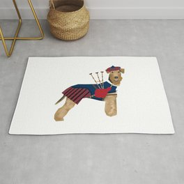 Airedale Terrier Bagpiper dog welsh terrier dog tartan dog funny dog illustration Rug