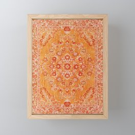 N78 - Orange Antique Oriental Berber Moroccan Style Carpet Design. Framed Mini Art Print