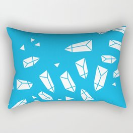 White Crystals on Blue Rectangular Pillow