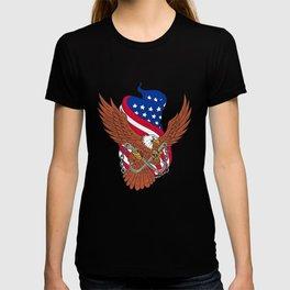 American Eagle Wings USA Flag Drawing T-shirt