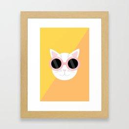 Living My Best Life - White Cat Framed Art Print