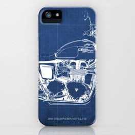2010 Triumph Bonneville SE, motorcycle blueprint, husbands gift, offer, original poster, fathers day iPhone Case