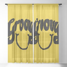 Groovy Smile // Black Smiley Face Fun Retro 70s Hippie Vibes Mustard Yellow Lettering Typography Art Sheer Curtain