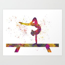 Rhythmic gymnastics competition in watercolor 05 Art Print