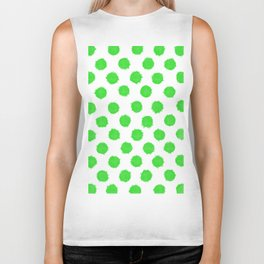 Bright Lime Green Polka Dots to Cheer You Up Biker Tank