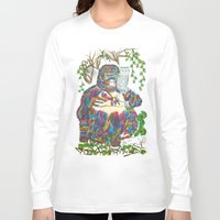 sia Long Sleeve T-shirts featuring Vibrant Jungle Gorilla and Pet Cat by famenxt
