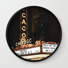 The Chicago Theatre at Night  Wall Clock