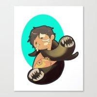 castiel Canvas Prints featuring Castiel by oh, wolves