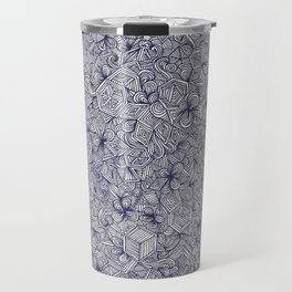 Held Together - a pattern of navy blue doodles Travel Mug