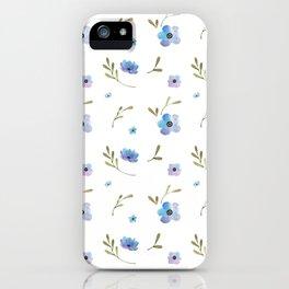 Blue watercolor flowers #2 iPhone Case