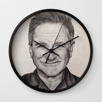 robin williams Wall Clocks featuring Robin Williams by Lindsay Hall