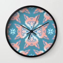 Pastel Fox Pattern Wall Clock
