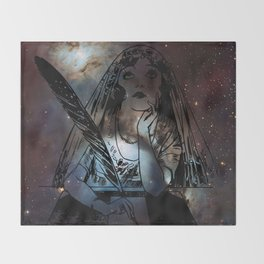 Galaxy Gypsy Writing a Letter to the Cosmos Throw Blanket