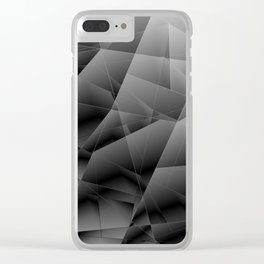 Metallic pattern of chaotic black and white fragments of glass, foil, highlights and silver plates. Clear iPhone Case