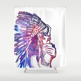 Space Indian Shower Curtain