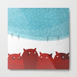 Squirrels in the snow Metal Print