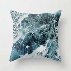Blue Sea Marble Throw Pillow