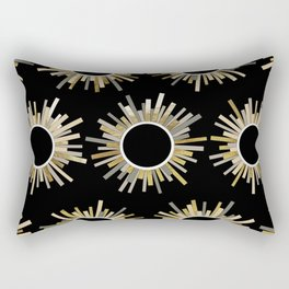 Art Deco Starburst in Black Rectangular Pillow