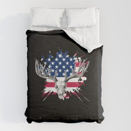 Deer Hunting Gift USA American Flag Hunter Outdoors Nature Comforters