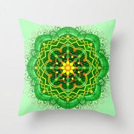 Mandala Zen Greenery Seamless Pattern Design Throw Pillow