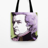 mozart Tote Bags featuring Wolfgang Amadeus Mozart by Joseph Walrave