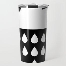 clound with rain drops. black white Travel Mug