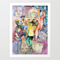 After the work, young people on a pick up Art Print