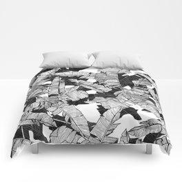Modern Black and White Tropical Banana Leaves Comforters