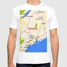 Map of Maine state, USA MEDIUM White Mens Fitted Tee