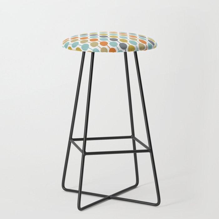 Retro Circles Mid Century Modern Background Bar Stool