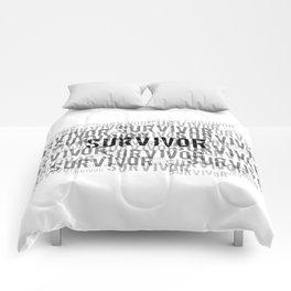 Survivor (Black Text) Comforters