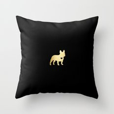 French Bulldog Gold Throw Pillow
